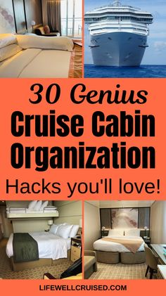 The ultimate cruise cabin organization list! Follow these tips from Ilana, Cruise Blogger and YouTuber at Life Well Cruised to keep your cabin organized and clutter free, even if you're cruising with kids, even if you're in an inside cabin, and even if you don't have all the cruise travel accessories! Not your average tips, but they definately work! #cruisehacks #cruisetips #cruiseorganization #cruising #cruises