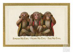 three monkeys art | Speak, Hear, See No Evil, Three Monkeys Premium Poster at Art.com