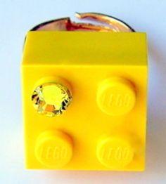 Yellow LEGO R brick 2x2 with a Diamond color by MademoiselleAlma, $11.99 #LEGO
