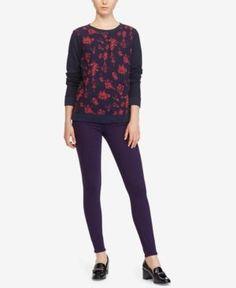 Lauren Ralph Lauren Floral-Print French Terry Sweatshirt - Blue Floral XXL