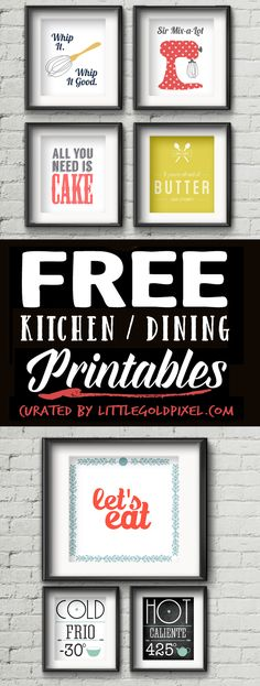 Free Printables Kitchen Wall Art •Little Gold Pixel