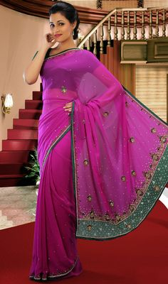 Pink Faux Georgette Embroidered Saree Price: Usa Dollar $134, British UK Pound £78, Euro98, Canada CA$143 , Indian Rs7236.