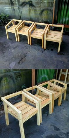 Trendy old wood table diy chairs 44 ideas Pallet Furniture Plans, Diy Outdoor Furniture, Diy Furniture, Modern Furniture, Pallet Chairs, Furniture Design, Rustic Furniture, Furniture Stores, Luxury Furniture