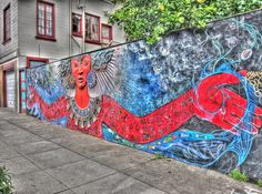 Mother Earth/Father Sky Neighborhood Goddess/God Mural, Handheld HDR    On 16th street in the Mission District.