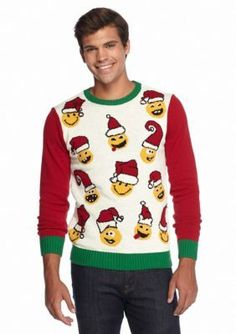This sweater features a festive design with emojis wearing cute Santa hats.