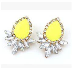 6 cores novas mulheres projeto liga brinco moda jóia de cristal colorido gota de água Errings para mulheres jóias atacado XY E462 em Brinco grande de Jóias no AliExpress.com | Alibaba Group
