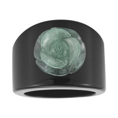 jcpenney - ONLINE ONLY - Jade & Onyx Carved Flower Ring - jcpenney