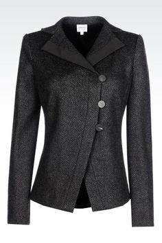 Armani Collezioni Women Dinner Jacket - JACKET IN CHEVRON DESIGN JACQUARD WOOL BLEND Armani Collezioni Official Online Store