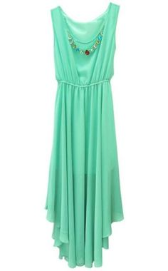 Green Sleeveless Asymmetrical Pleated Chiffon Dress