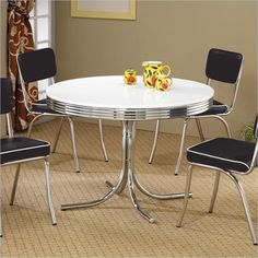 Coaster Cleveland Round Chrome Plated Dining Table with White Top - 2388