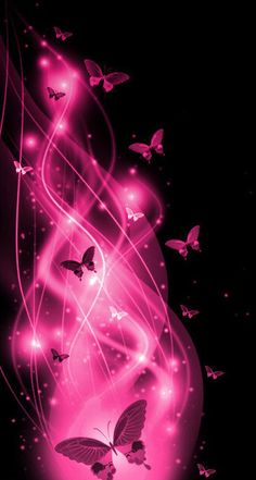 Neon Pink Butterflies Bright Picture