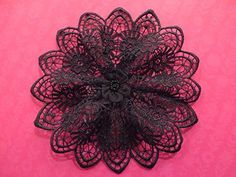 Handmade black lace doily head cover (with attached comb)