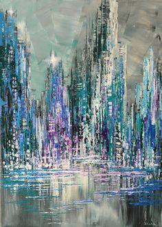 """Paysage urbain Original peinture couteau à Palette urbaine paysage Art - 20 """"x 28 » - par Tatiana Iliina - livraison gratuite"""