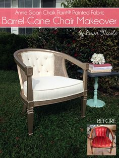 Barrel Cane Chair Makeover (Fabric done with Annie Sloan Chalk Paint)