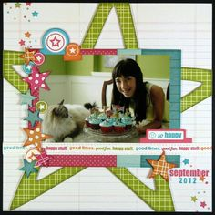 A Technique Tuesday layout by Mendi Yoshikawa. really like the way the big star is in the background, and the layering here Birthday Scrapbook Pages, Kids Scrapbook, Scrapbook Cards, Scrapbook Layout Sketches, Scrapbook Designs, Scrapbooking Layouts, Digital Scrapbooking, Creating Keepsakes, Picture Layouts
