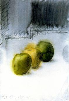 hugh-jorgin:  Apples. Gerhard Richter. 1987. Watercolor and graphite on paper.
