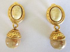 Oscar de La Renta Earrings Bold Gemstone Drops by COBAYLEY on Etsy