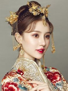 Red Hair St… in 2020 Chinese Makeup, Chinese Bride, Traditional Hairstyle, Make Up Braut, Bridal Makeup Looks, Oriental Fashion, Bridal Tiara, Traditional Dresses, Traditional Chinese Wedding