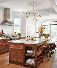 40 Contemporary Walnut Kitchen Cabinets Design Ideas - Page 36 of 48 Walnut Kitchen Cabinets, Kitchen Cabinets For Sale, Kitchen Cabinet Design, Interior Design Kitchen, Wooden Kitchen, Kitchen Design Classic, Wood Kitchen Countertops, Rustic Wood Cabinets, Kitchen Island