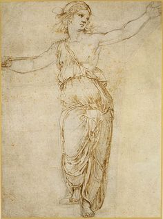 Raphael (Raffaello Sanzio or Santi), Lucretia, 1483–1520. Pen and brown ink over black chalk, partially incised with a stylus; rubbed with black chalk for transfer; 39.7 x 29.2 cm. Metropolitan Museum of Art, New York.