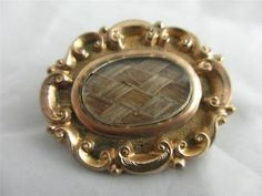 ANTIQUE c1840 VICTORIAN 9ct GOLD BRAIDED HAIR MOURNING BROOCH FREE P&P UK | eBay