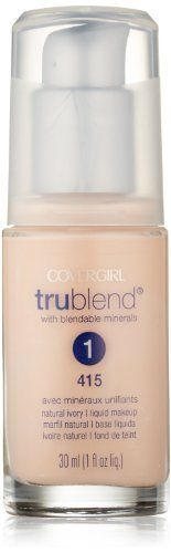 CoverGirl Trublend Liquid Make Up Natural Ivory 415, 1.0-Ounce Bottle (008100002764) Oil-free Dermatologically-tested Hypoallergenic Non-comedogenic Won't clog pores