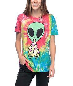 c2d352e3 JV by Jac Vanek Pizza Nerd Tie Dye T-Shirt Trippy Shirts, Grunge Tattoo
