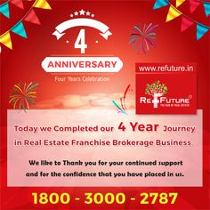 RE-FUTURE : Thanks all for believe in us & being with us in each success moments from last 4 years as part RE-FUTURE journey as Employee , Master Franchise , Franchise , Associates , Investors , Clients , Friends & well wishers.... Heartily praying God for always give blessing all of us for future journey.