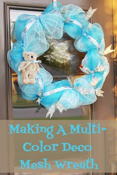 Miss Kopy Kat: Making A Multi-Color Deco Mesh Wreath Tutorial Wreaths And Garlands, Deco Mesh Wreaths, Holiday Wreaths, Mesh Garland, Wreath Crafts, Diy Wreath, Wreath Ideas, Wreath Making, Xmas Crafts