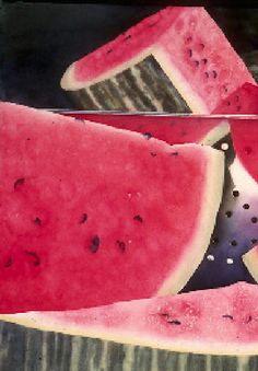 Watermelon - Sue Archer Watercolors Michael Reardon, Agnes Cecile, Joseph Zbukvic, Archer, Watercolours, Love Art, Doodle Art, Simply Beautiful, Contemporary Artists
