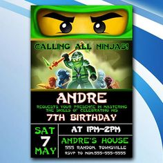 Ninjago Birthday Invitation/Ninjago Birthday Invites/Ninjago Birthday Party/Ninjago Birthday Printable/Ninjago Invitation Printable/Ninjago This listing includes: DIGITAL FILE ONLY - no physical items will be shipped. This is NOT an editable file. I do all the work for you! - 4x6 or