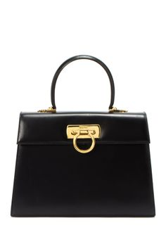 Vintage Ferragamo Leather Handbag .