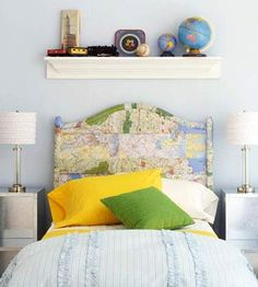 Map decoupage headboard