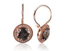 Delicate Smokey Topaz And Diamond Drop Earrings Sapphire And Diamond Earrings, Smokey Topaz, Stone Rings, Round Diamonds, Delicate, Bling, Rose Gold, Gemstones, Metal