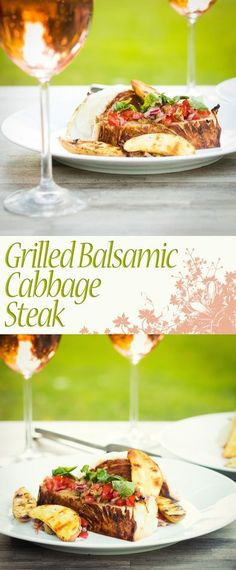Grilled Balsamic Cabbage Steak Recipe: The first of the cabbage is here and this BBQ dish of Grilled Cabbage Steaks with Balsamic is the perfect way to use a much underused vegetable.