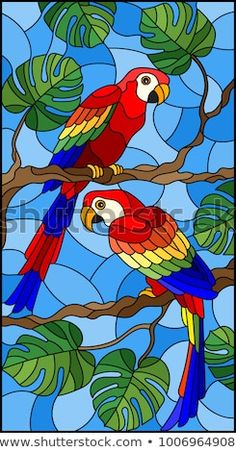 Encontre vetores stock de Illustration in stained glass style with pair of birds. - Encontre vetores stock de Illustration in stained glass style with pair of birds parakeet on branch - Stained Glass Quilt, Faux Stained Glass, Stained Glass Designs, Stained Glass Panels, Stained Glass Patterns, Glass Painting Patterns, Glass Painting Designs, Paint Designs, Fabric Painting