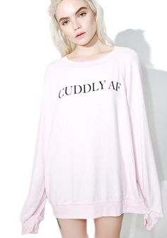 Wildfox Couture Cuddly AF Sommer's Sweater get me all the blankets and pillows in the house! This adorable sweater features a plush baby pink construction, suuuper slouchy 'N cozy fit, banded trim, and minimal lettering across the chest reading 'Cuddly AF.'