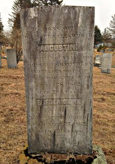 "Marker in Linwood Cemetery in Colchester, Conn., for Augustin and Frederick Ellsworth, brothers who died during the Civil War. Frederick, a private in the 8th Connecticut, died from a severe head wound on Sept. 21, 1862, four days after he was shot at Antietam. Augustin, a seaman aboard the U.S.S. Sciota, was killed ""by a ball from the enemy's battery"" as his vessel passed Vicksburg, Miss., on June 28, 1862. (Photo courtesy Matt Reardon.) Head Wound, Grave Markers, Military Service, Connecticut, Monuments, Cemetery, Genealogy, Soldiers, American History"