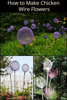 These Giant DIY alliums made from chicken wire makes great garden decors! These Giant DIY alliums made from chicken wire makes great garden decors! The post These Giant DIY alliums made from chicken wire makes great garden decors! Diy Garden Projects, Garden Crafts, Diy Garden Decor, Garden Decorations, Garden Ideas, Yard Art Crafts, Chicken Wire Art, Chicken Wire Crafts, Chicken Wire Sculpture