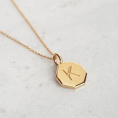 Personalised Engraved Hexagon Initial Pendant Necklace. Discover thoughtful, personal and wonderfully unique gifts for her at notonthehighstreet.com this Christmas. As seen at Stylist Live.