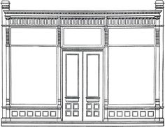 antique architectural drawing - Store Front - Free Stock Image