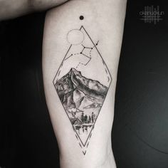 Landscape tattoo on the left inner arm. Tattoo artist: Okan Uçkun