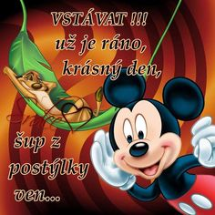 Good Morning, Mickey Mouse, Disney Characters, Fictional Characters, Funny, Night, Google, Text Posts, Cat Breeds