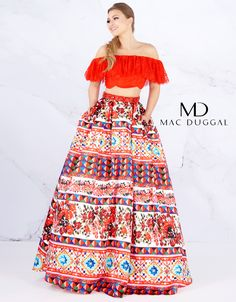 Sizzle and shine in this two piece ball gown. Designed with an off the shoulder peasant look that totally offsets the multi patterned full skirt with pockets. Tulle Ball Gown, Ball Gown Dresses, Evening Dresses, Prom Girl Dresses, Nice Dresses, Short Dresses, Prom Boutiques, Ball Skirt, Full Length Gowns