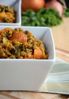 Lentil, Sweet Potato and Kale Stew (Vegan, Gluten-Free) - suitable for Dr. Oz' 2 Week Rapid Weight Loss Diet (sub squash for sweet potatoes) 2 week diet dr oz Gluten Free Diet, Gluten Free Recipes, Diet Recipes, Vegan Recipes, Healthy Snacks For Diabetics, Diet Snacks, Clean Eating, Healthy Eating, Stewed Potatoes