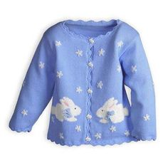 Bunny Stripes Newborn/Infant Girls' Easter Sweater.Made in USA exclusively for The Wooden Soldier