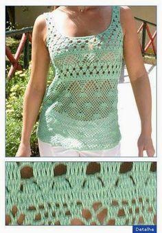New Crochet Jacket Chart Spanish Ideas Crochet Woman, Love Crochet, Beautiful Crochet, Crochet Yarn, Crochet Tank Tops, Crochet Shirt, Crochet Jacket, Crochet Clothes, Crochet Patterns