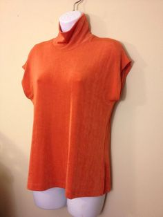 27d5f33a092844 Chico s Chico TRAVELERS TURTLE SUNSET ORANGE BLOUSE TANK 2 3 SHELL SZ 1  BUST 40  Chicos  Blouse