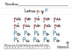 Fichas de la letra P Math Equations, Letter P Activities, Learning Letters, Writing Words, Note Cards