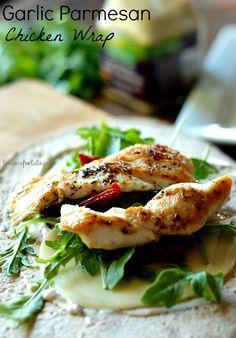 Garlic Parmesan Chicken Wrap #HVSandwichSpread www.lemonsforlulu.com